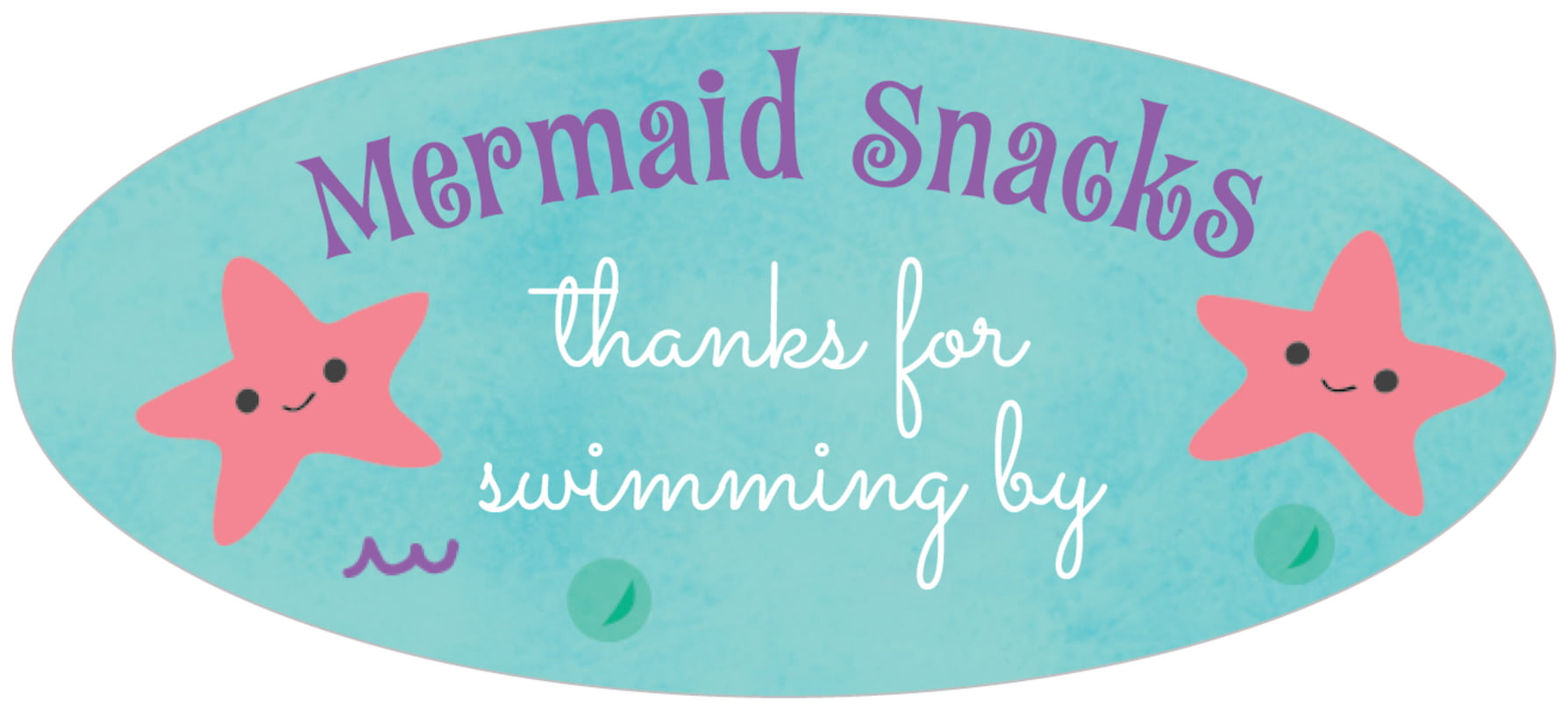 oval food/craft labels - purple - mermaid (set of 30)
