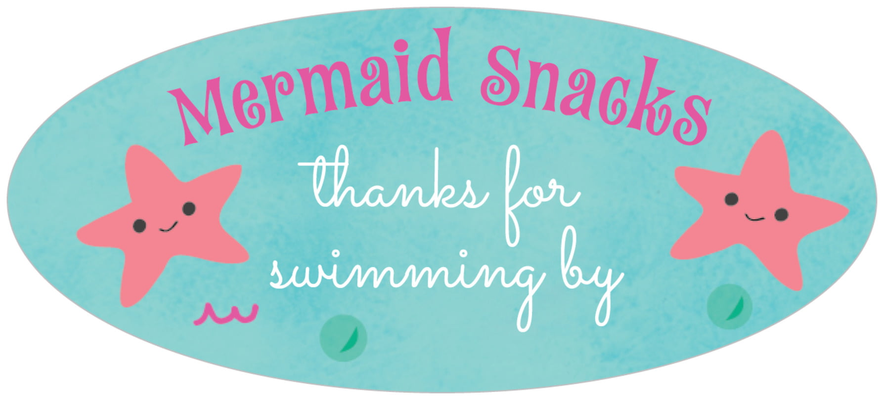 oval food/craft labels - bright pink - mermaid (set of 30)