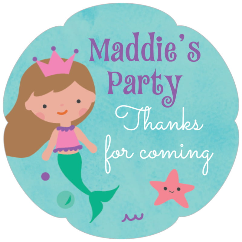petal food/craft labels - purple - mermaid (set of 30)
