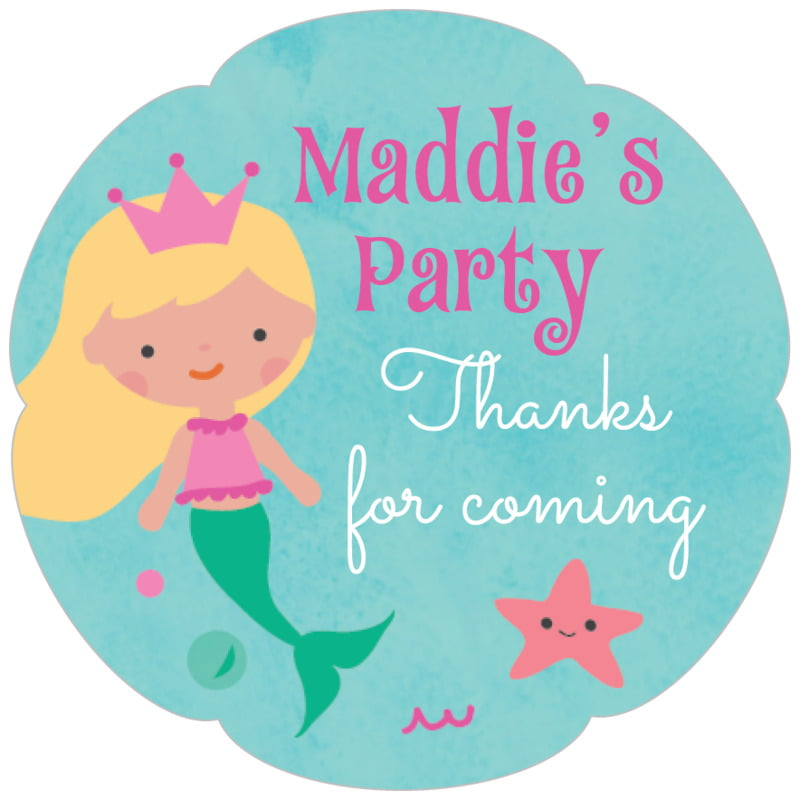 petal food/craft labels - bright pink - mermaid (set of 30)