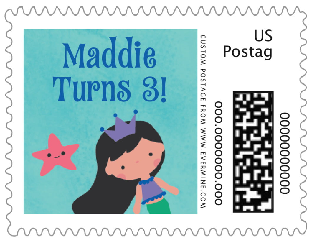 small custom postage stamps - cobalt - mermaid (set of 20)