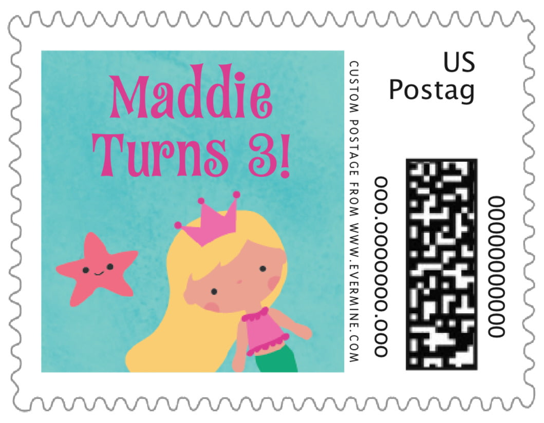 small custom postage stamps - bright pink - mermaid (set of 20)