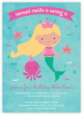 Mermaid Card In Bright Pink