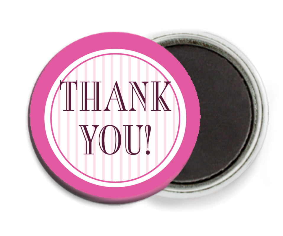 custom button magnets - bright pink - metropolitan (set of 6)