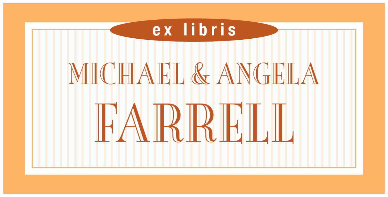 bookplates for everyone - tangerine - metropolitan (set of 24)