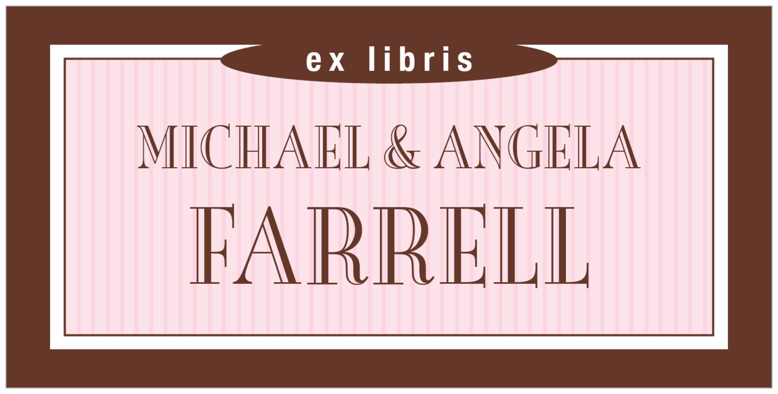 bookplates for everyone - cocoa & pink - metropolitan (set of 24)