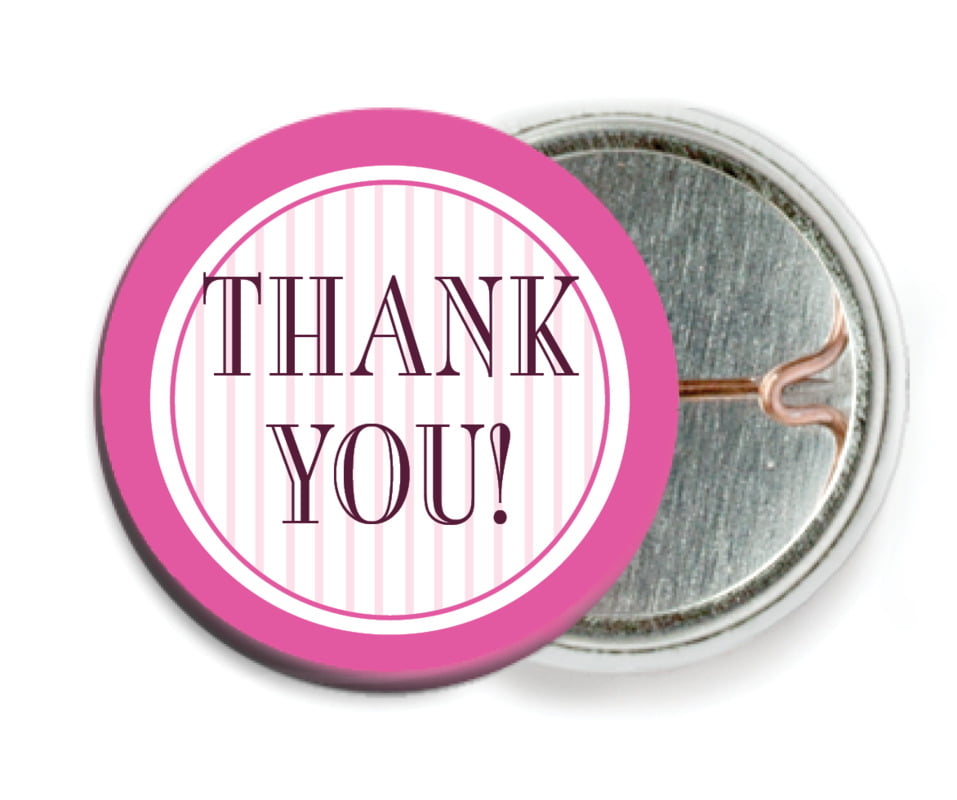 custom pin back buttons - bright pink - metropolitan (set of 6)