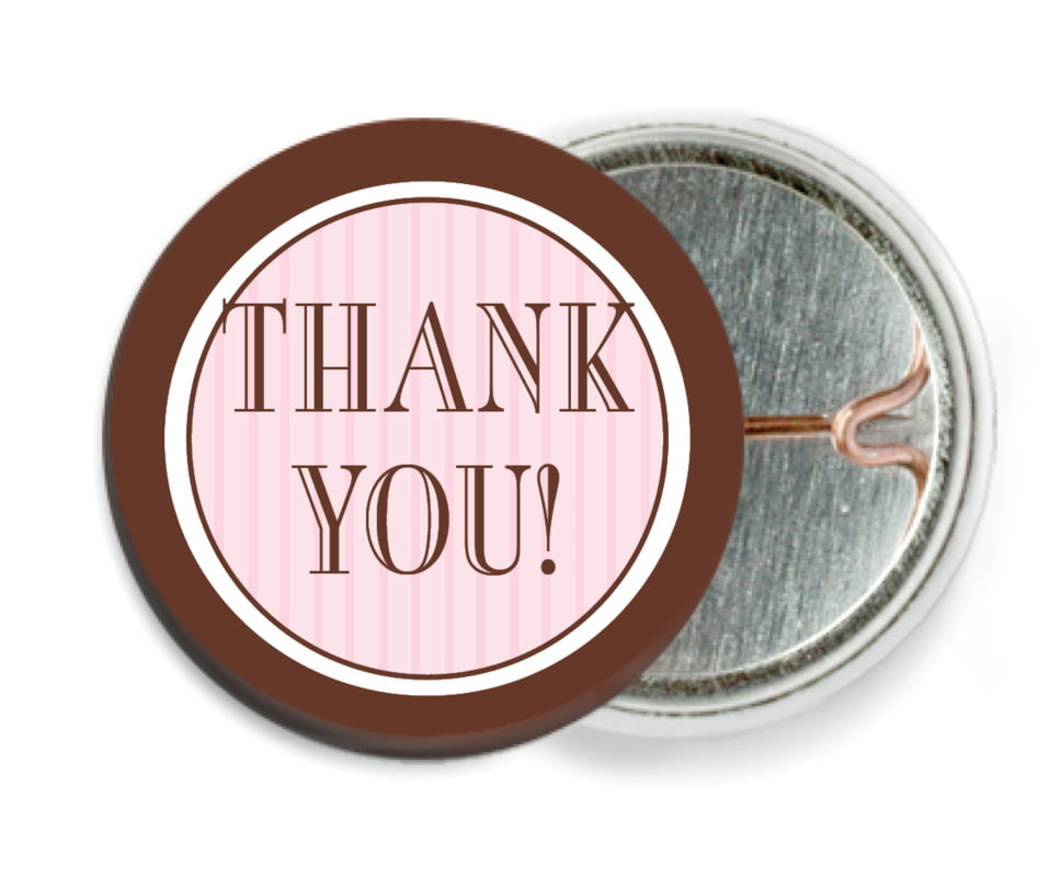 custom pin back buttons - cocoa & pink - metropolitan (set of 6)