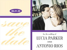 custom save-the-date cards - purple - metropolitan (set of 10)