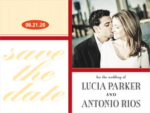 custom save-the-date cards - red & gold - metropolitan (set of 10)