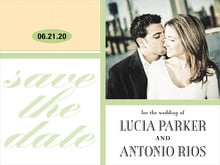 custom save-the-date cards - lime & ivory - metropolitan (set of 10)