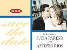 custom save-the-date cards - royal blue & gold - metropolitan (set of 10)