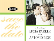 custom save-the-date cards - lime & gold - metropolitan (set of 10)