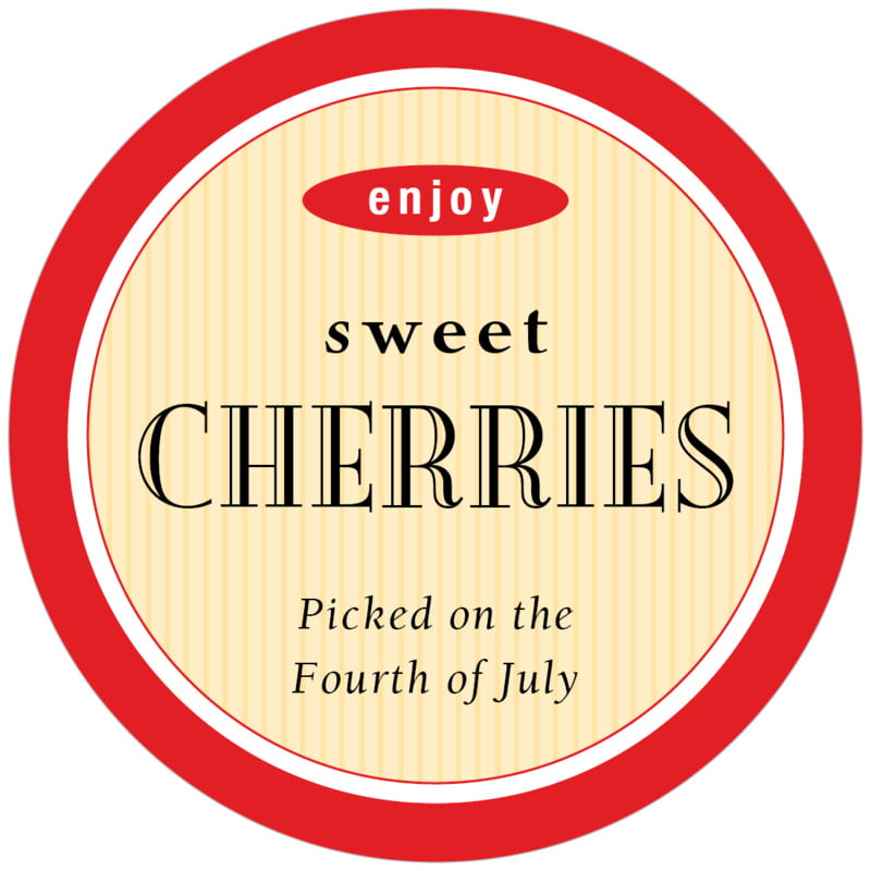 circle food/craft labels - cherry - metropolitan (set of 12)