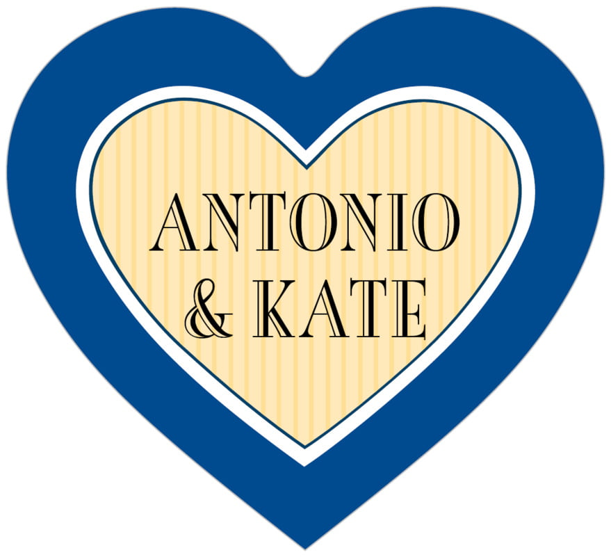 small heart food/craft labels - deep blue & gold - metropolitan (set of 20)