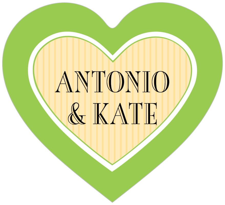 small heart food/craft labels - lime & gold - metropolitan (set of 20)