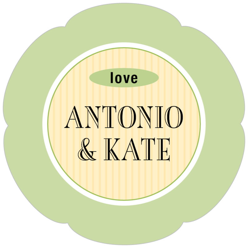 petal food/craft labels - lime & ivory - metropolitan (set of 30)