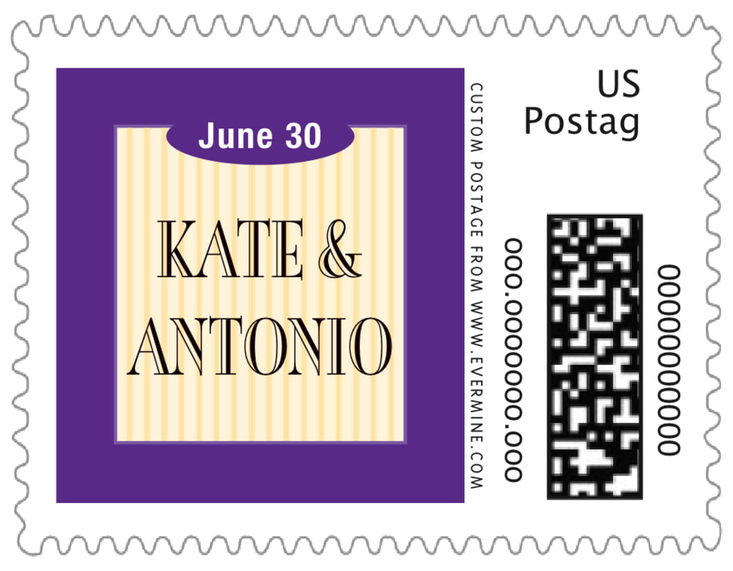 small custom postage stamps - purple - metropolitan (set of 20)