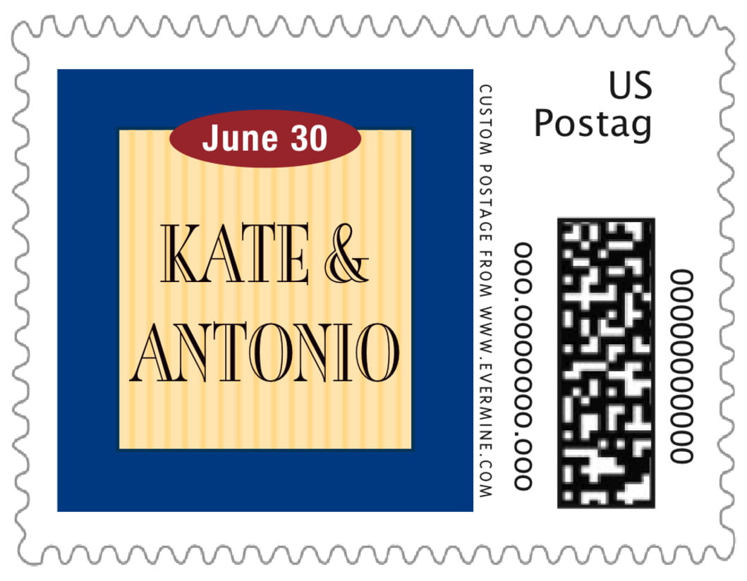 small custom postage stamps - deep blue & gold - metropolitan (set of 20)