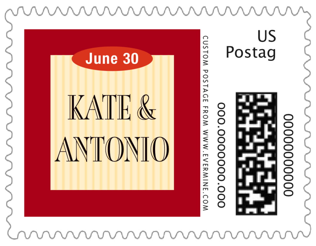 small custom postage stamps - red & gold - metropolitan (set of 20)
