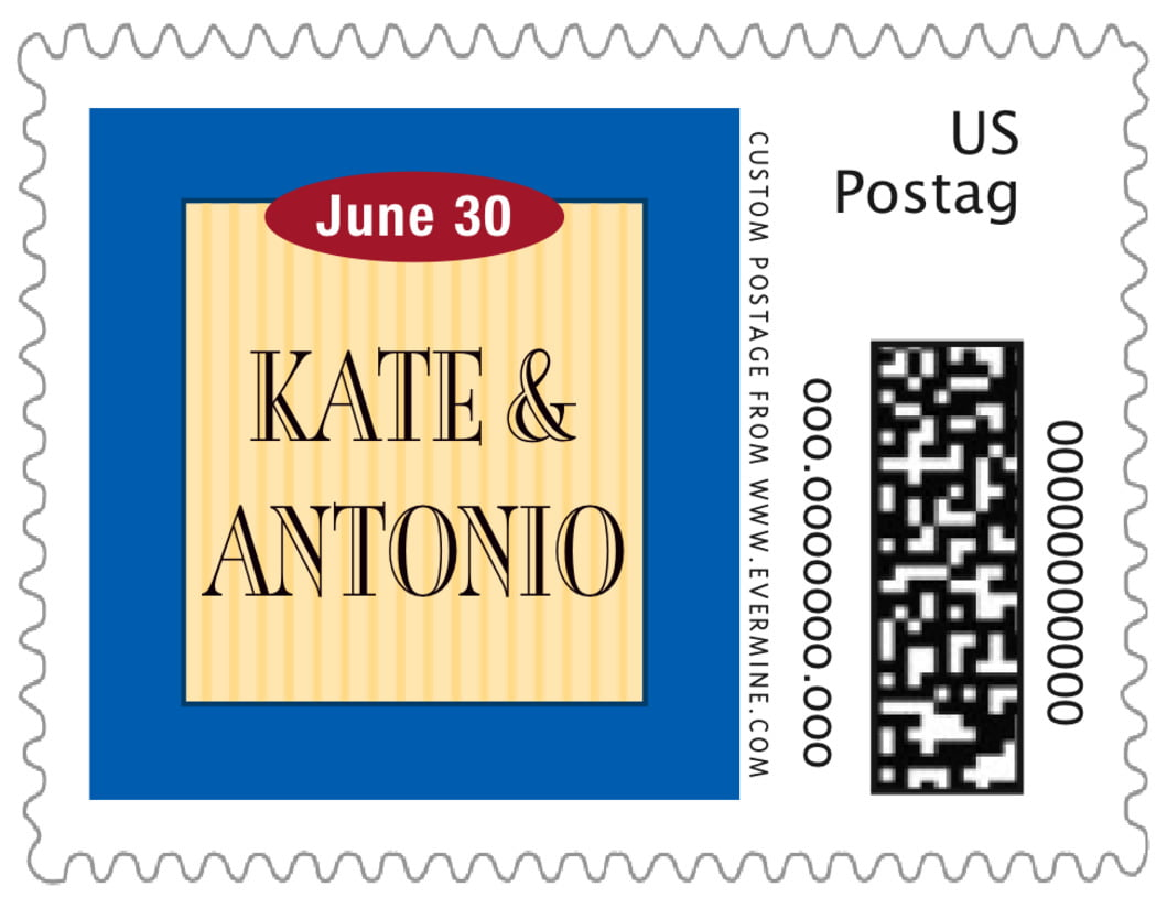 small custom postage stamps - royal blue & gold - metropolitan (set of 20)