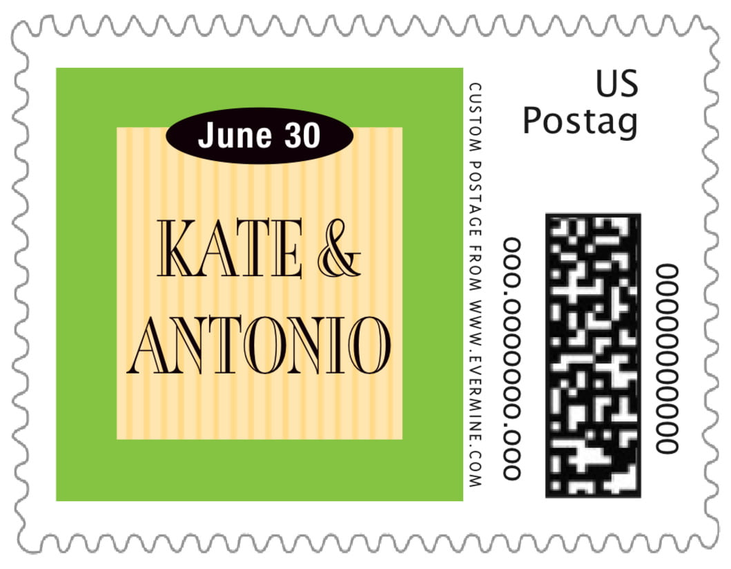 small custom postage stamps - lime & gold - metropolitan (set of 20)