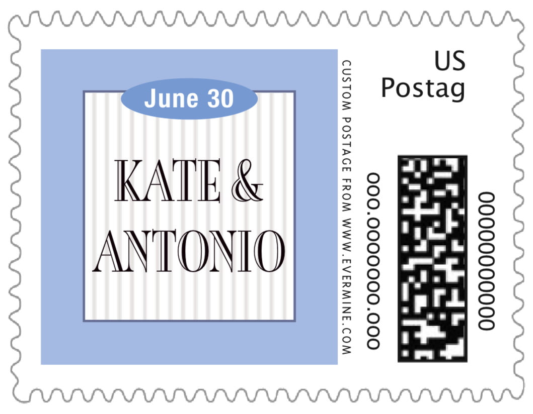 small custom postage stamps - periwinkle - metropolitan (set of 20)