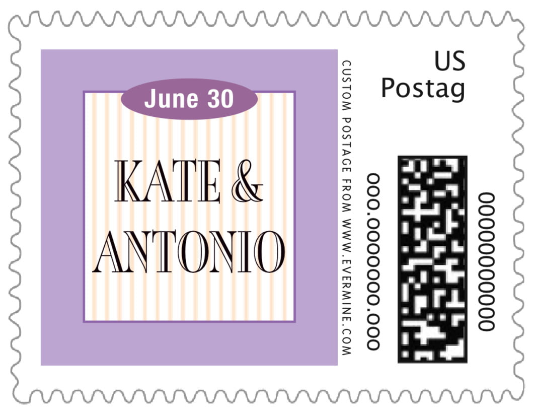 small custom postage stamps - lilac - metropolitan (set of 20)