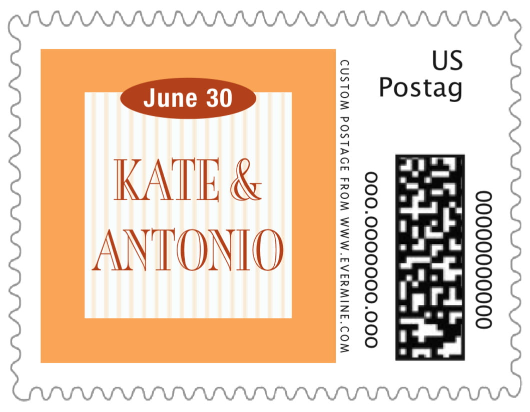 small custom postage stamps - tangerine - metropolitan (set of 20)