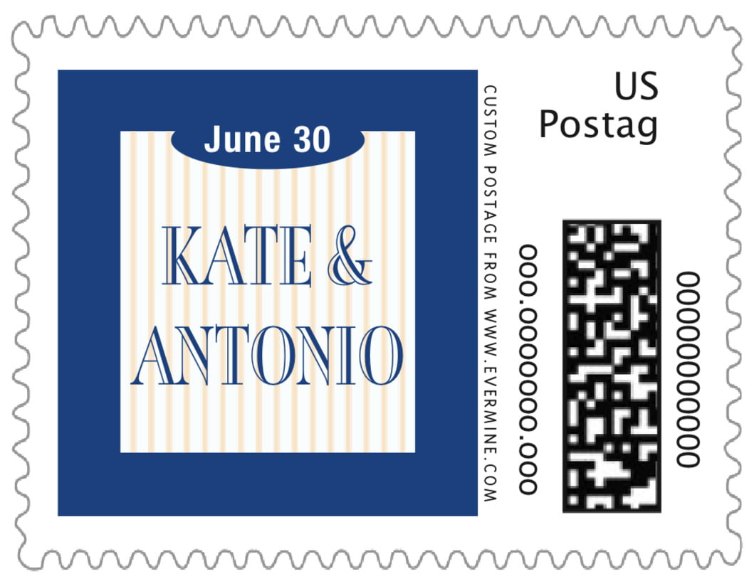 small custom postage stamps - deep blue - metropolitan (set of 20)