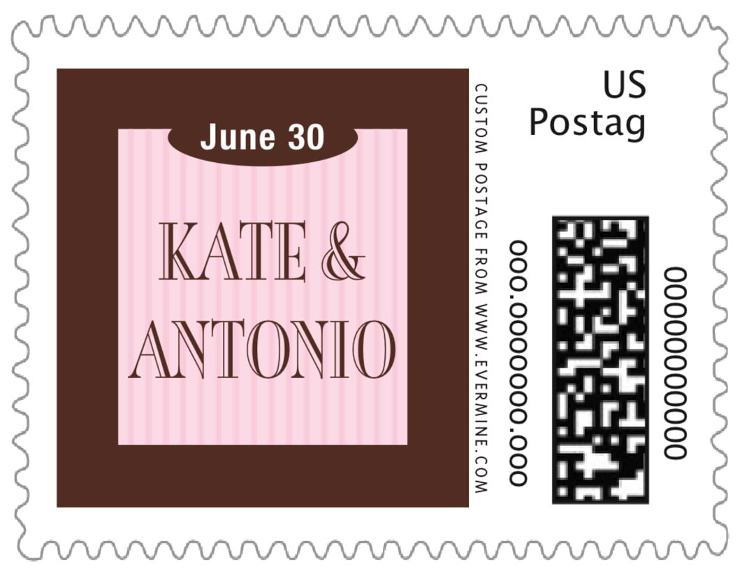 small custom postage stamps - cocoa & pink - metropolitan (set of 20)