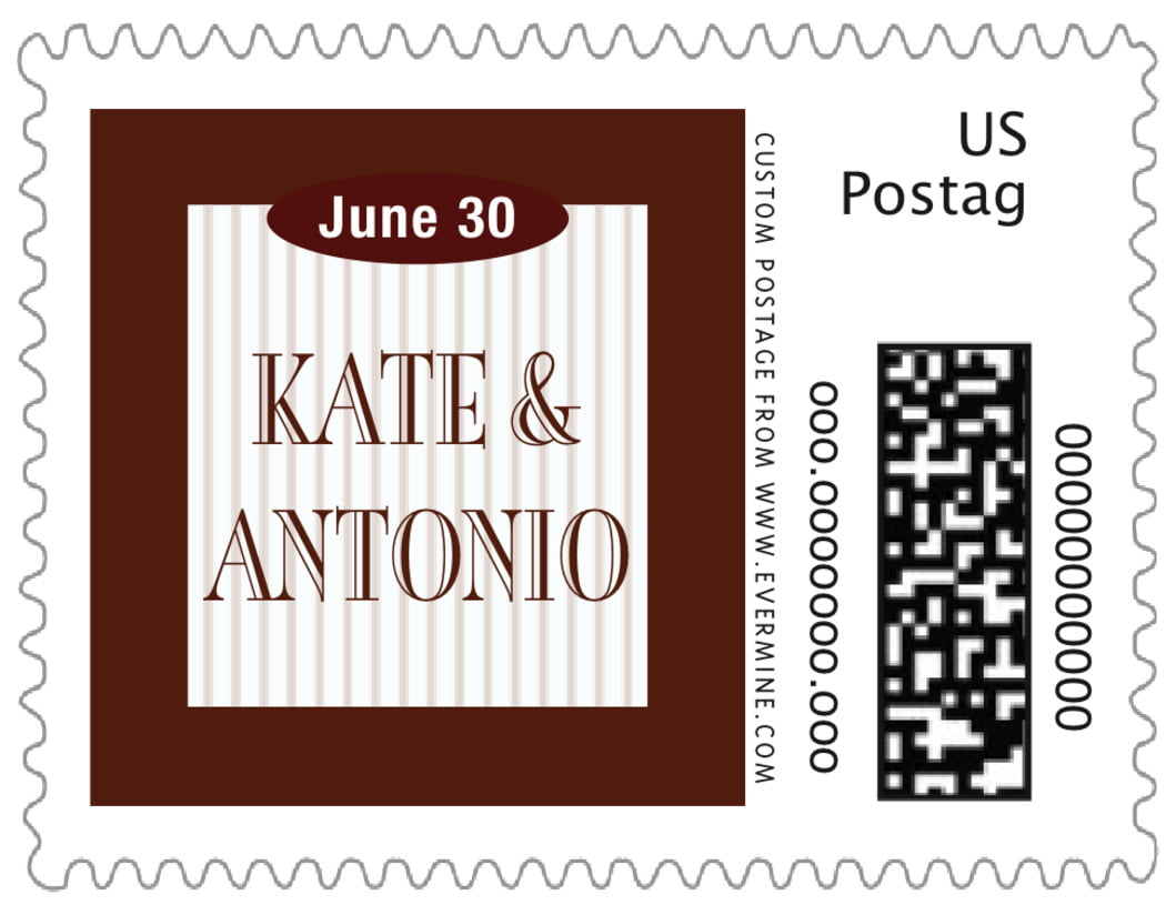 small custom postage stamps - chocolate - metropolitan (set of 20)