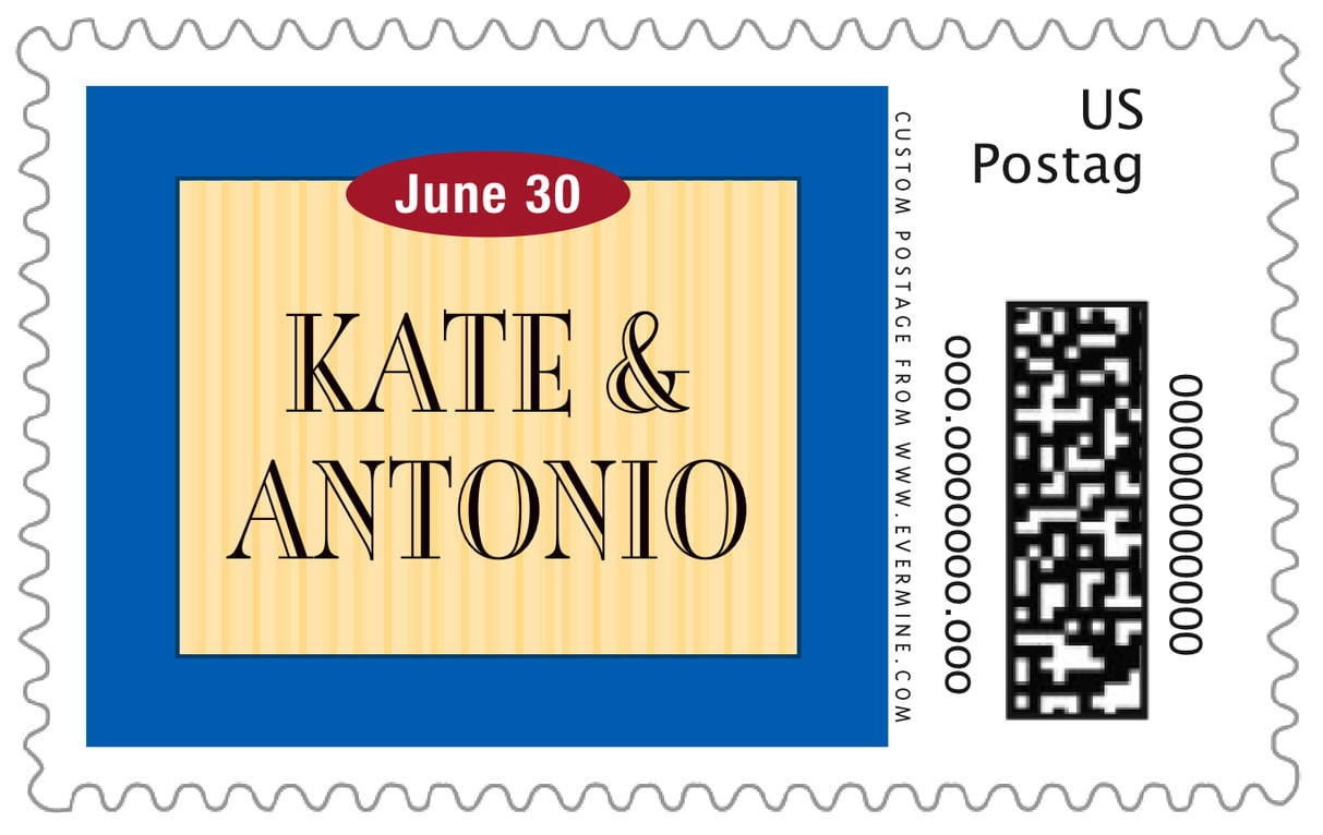 custom large postage stamps - royal blue & gold - metropolitan (set of 20)