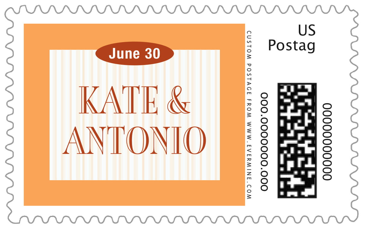 custom large postage stamps - tangerine - metropolitan (set of 20)