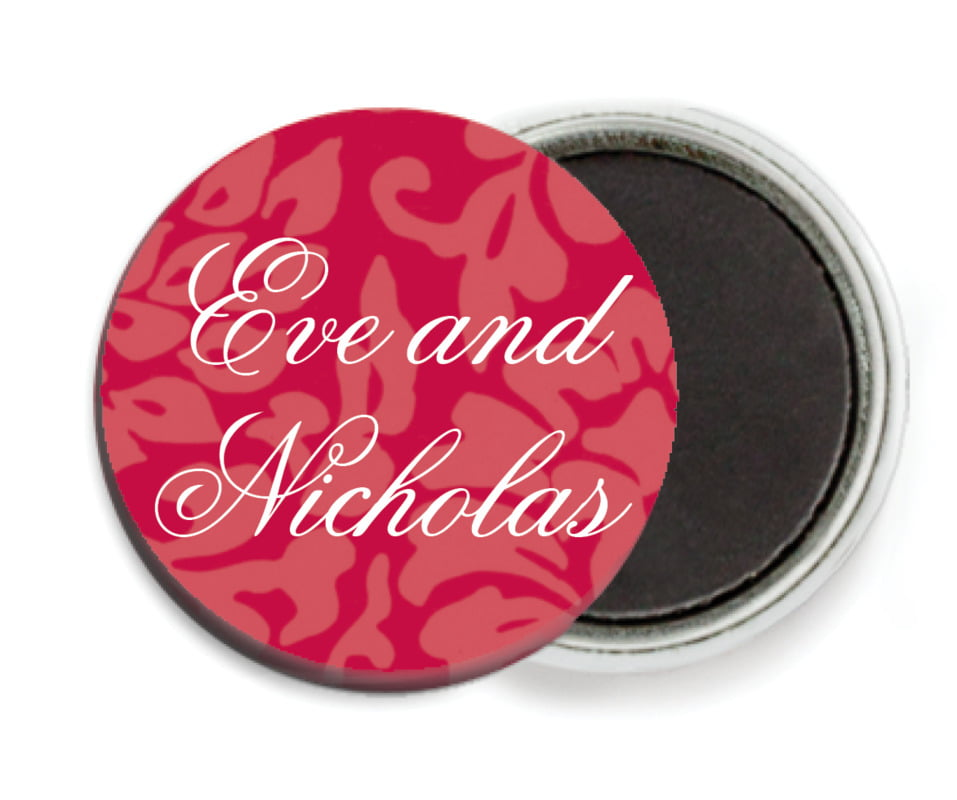 custom button magnets - deep red - magnolia (set of 6)