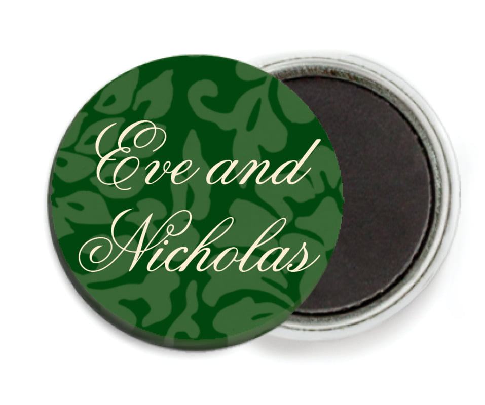 custom button magnets - deep green - magnolia (set of 6)