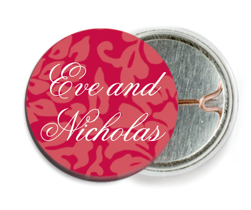 custom pin back buttons - deep red - magnolia (set of 6)