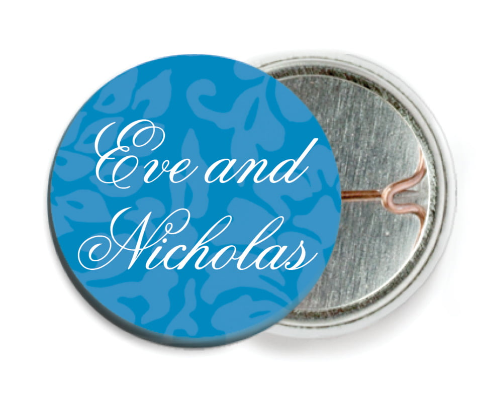 custom pin back buttons - blue - magnolia (set of 6)