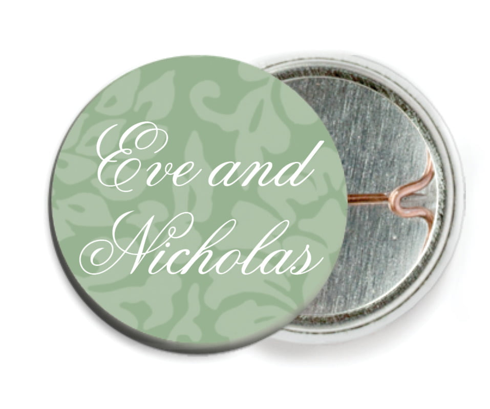 custom pin back buttons - sage - magnolia (set of 6)