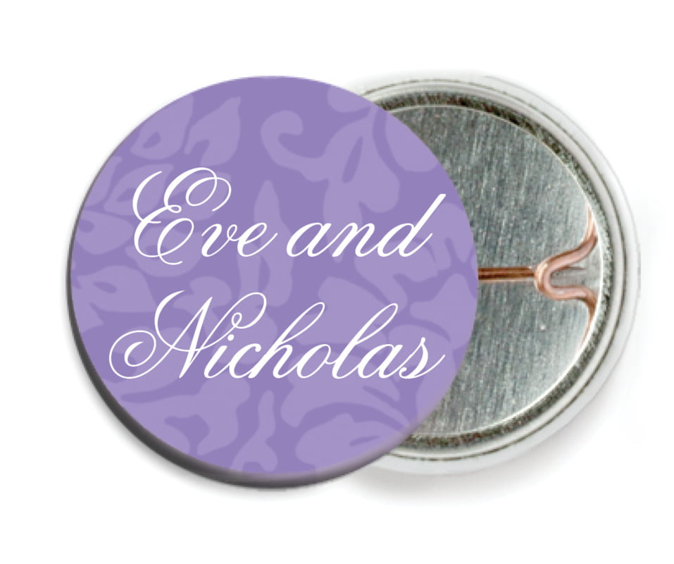 custom pin back buttons - lilac - magnolia (set of 6)