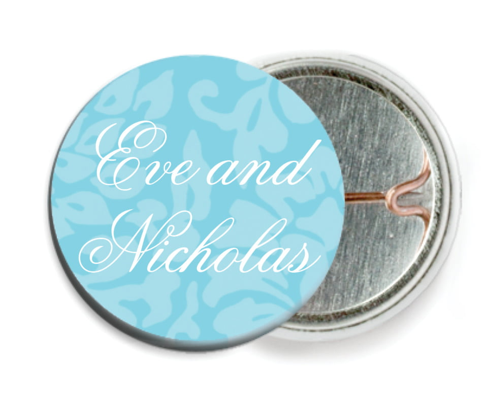 custom pin back buttons - bahama blue - magnolia (set of 6)