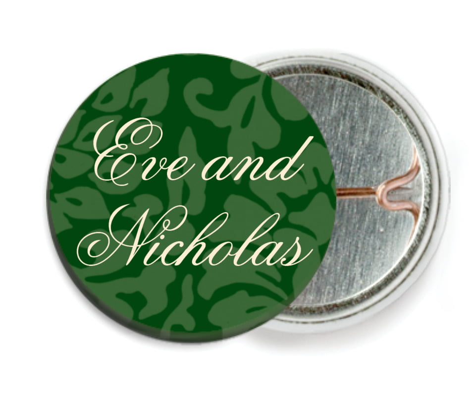 custom pin back buttons - deep green - magnolia (set of 6)