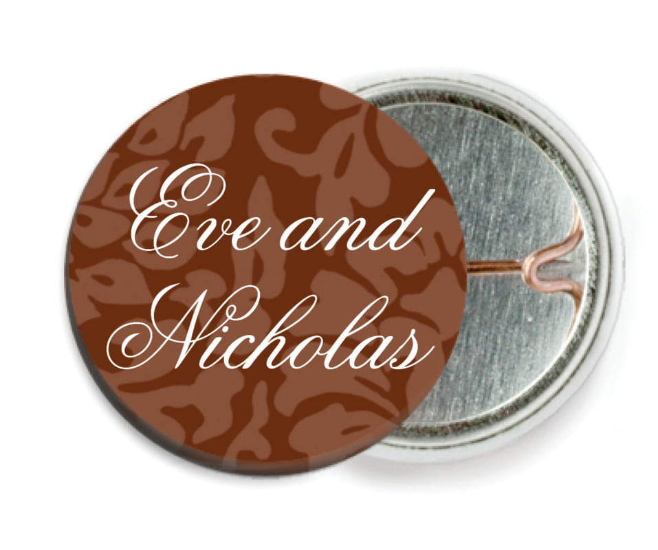 custom pin back buttons - chocolate - magnolia (set of 6)