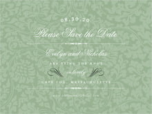 custom save-the-date cards - sage - magnolia (set of 10)