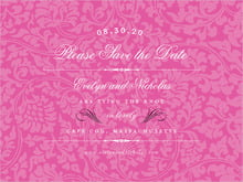 custom save-the-date cards - bright pink - magnolia (set of 10)
