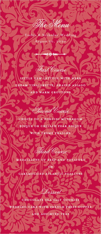 custom menus - deep red - magnolia (set of 10)