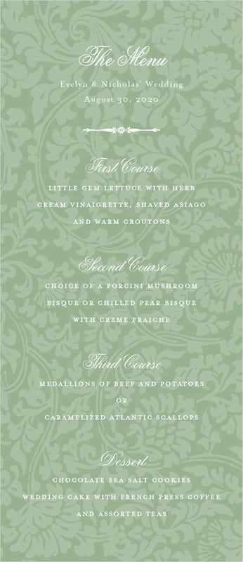 custom menus - sage - magnolia (set of 10)
