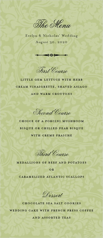 custom menus - green tea - magnolia (set of 10)
