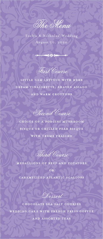 custom menus - lilac - magnolia (set of 10)