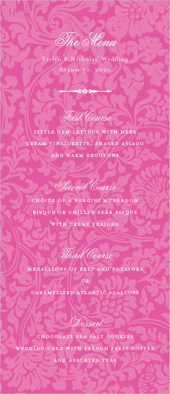 custom menus - bright pink - magnolia (set of 10)